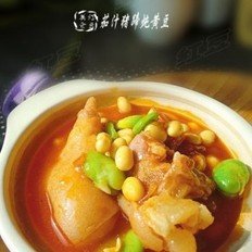 茄汁猪蹄炖黄豆的做法
