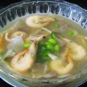白条虾毛豆秀珍菇汤
