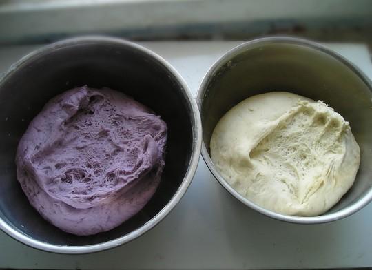 蜂窝状的时候,发酵即完成.-紫薯双色花卷的做法