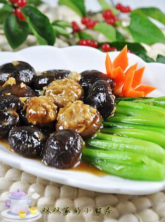 香菇酿肉扒油菜的做法