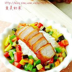 叉燒五彩飯的做法