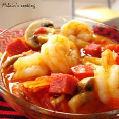 原汁什锦烩虾的做法