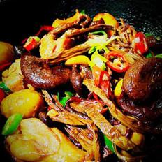 茶树菇炒栗子鸡