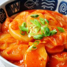 泡菜炖年糕的做法