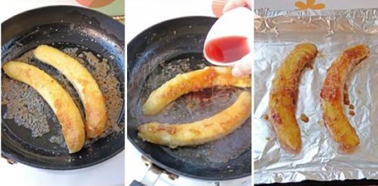 水果 香蕉/小心的将香蕉放到盘子里再撒上蜂蜜趁热食用。...