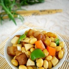 黄豆蛋白红烧肉的做法