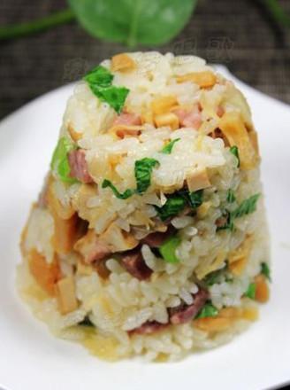 干贝咸肉焖菜饭的做法