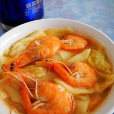 海虾烩面片