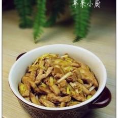 蒜黄肉丝白灵菇
