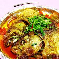 铁板酱烧鱼头的做法