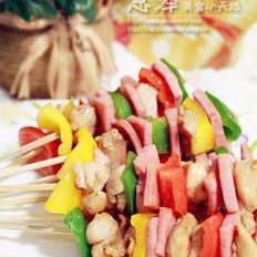 彩椒雞肉火腿串的做法