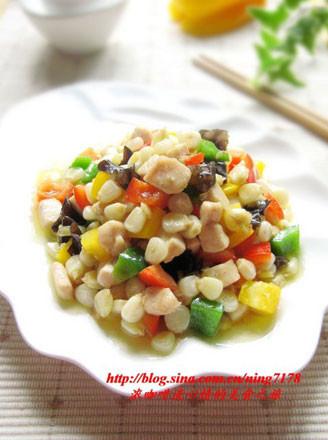 彩椒玉米炒鸡丁的做法