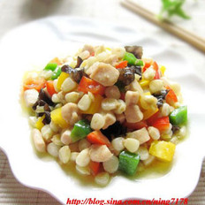 彩椒玉米炒鸡丁