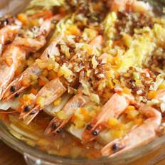 金银蒜开背虾的做法