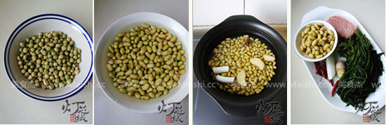 雪里蕻肉末炒黄豆的做法