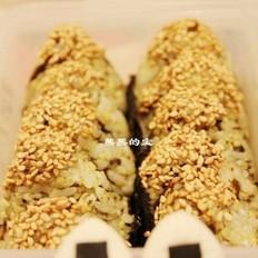 芝香榄菜肉松饭团的做法