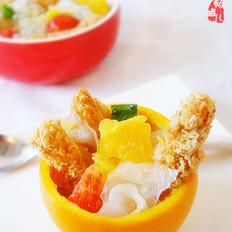 香橙鸡柳蔬果盅的做法