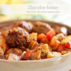 火龙果番茄牛肉丸