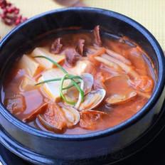 豆腐花蛤泡菜锅的做法