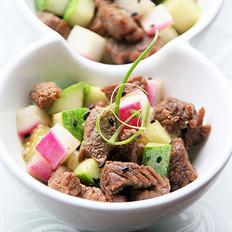 三丁孜然羊肉粒的做法