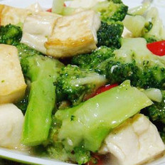 西兰花烧豆腐的做法