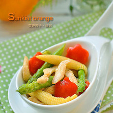 橙汁彩蔬鸡柳的做法