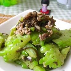 橄榄菜肉末炒苦瓜的做法