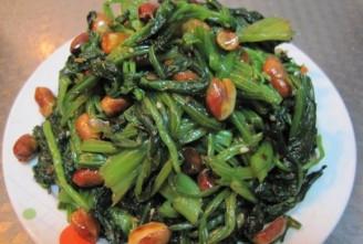 老醋菠菜花生米的做法