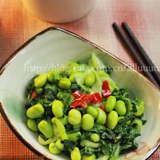 腌菜花毛豆米的做法