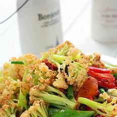 豆豉酱爆有机花菜的做法