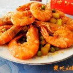 青豆黃瓜炒大蝦的做法