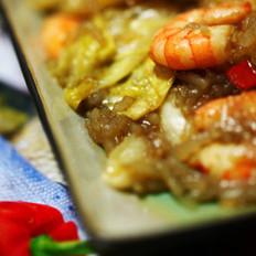 包菜粉丝虾仁的做法