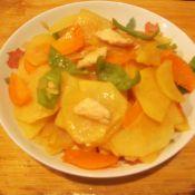 鸡肉片炒青椒土豆片的做法