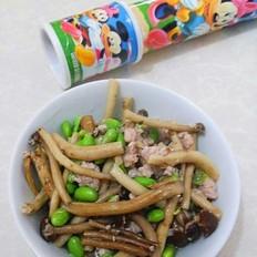 毛豆炒茶树菇的做法