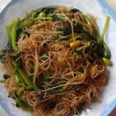 鸡毛菜炒榨面的做法