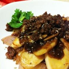 黑椒肉酱煎杏鲍菇的做法