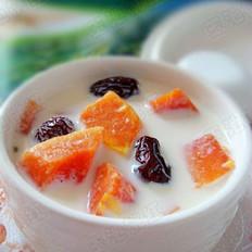 木瓜红枣米酒牛奶羹 的做法
