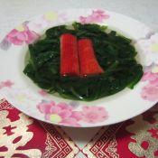 蓬蒿菜蟹肉棒汤
