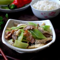 蘑菇青笋炒肉的做法