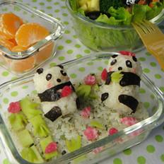 可愛熊貓便當的做法