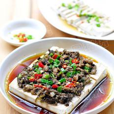 榄菜肉末蒸豆腐  的做法