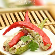 鸡肉酿青红椒的做法