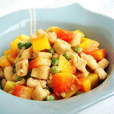 木瓜豌豆鸡丁的做法