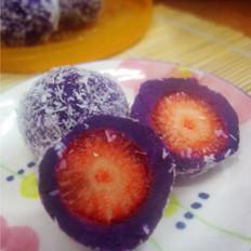 莓芯紫薯球的做法