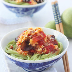 番茄鸡蛋翡翠手擀面的做法