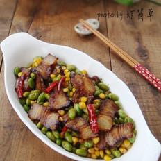 青豆玉米炒腊肉的做法