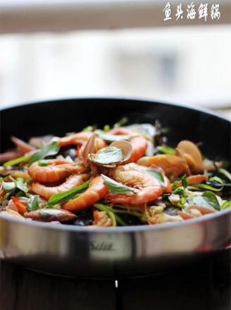 鱼头海鲜锅的做法