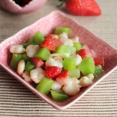 草莓莴笋丁炒虾球的做法