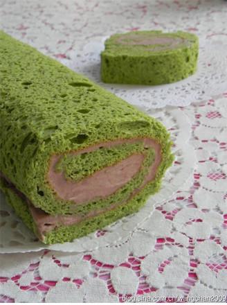 抹茶红豆奶油海绵卷的做法