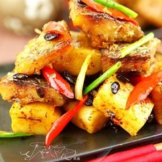 豆豉年糕蒸臘魚的做法